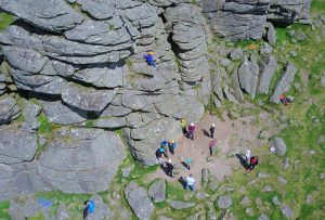 Drone photo of rock climbing at Hound Tor